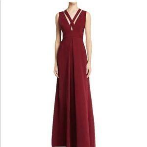 Jill Jill Stuart red crepe criss cross gown